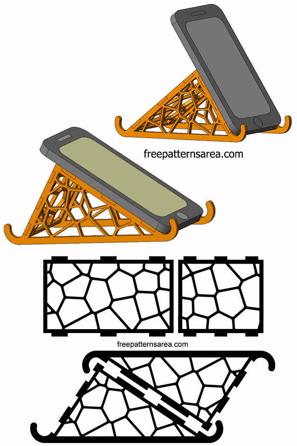Laser Cut Cell Phone Stand Holder Design
