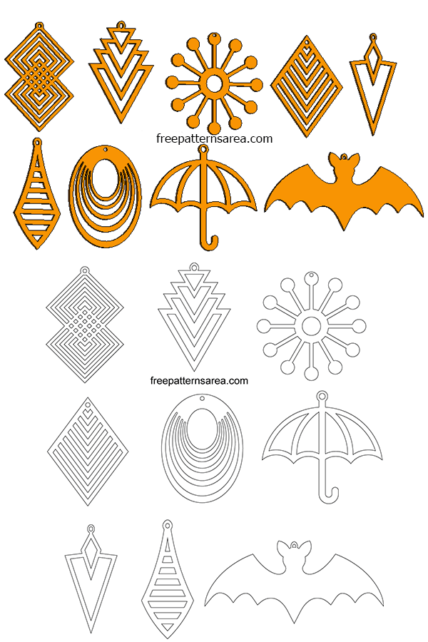 Laser Cut Jewelry Wooden Earrings Template