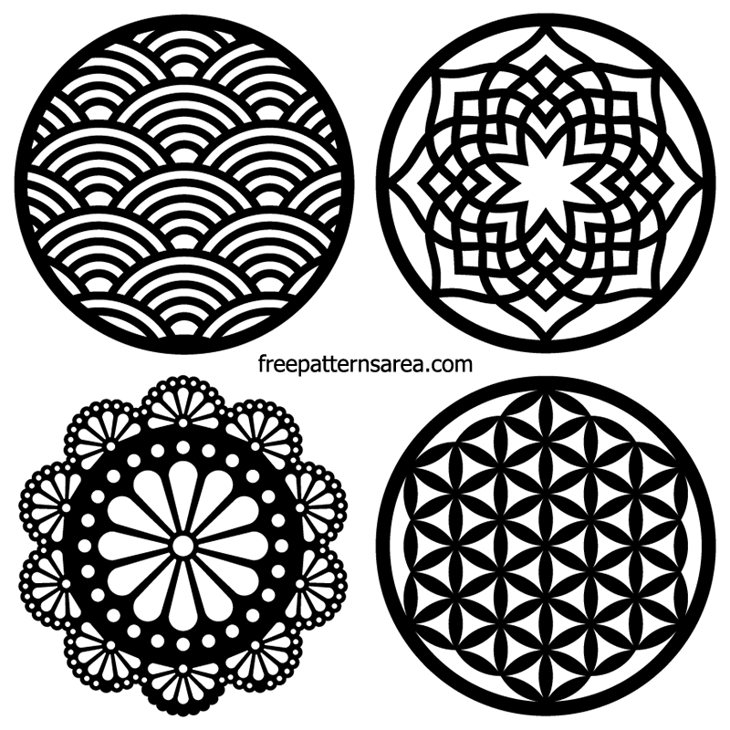 Laser Cut Vector Circle Coaster Ornamet Free Dxf Designs