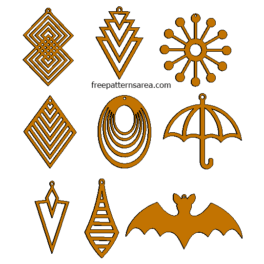 Laser Cut Woden Earrings Pattern