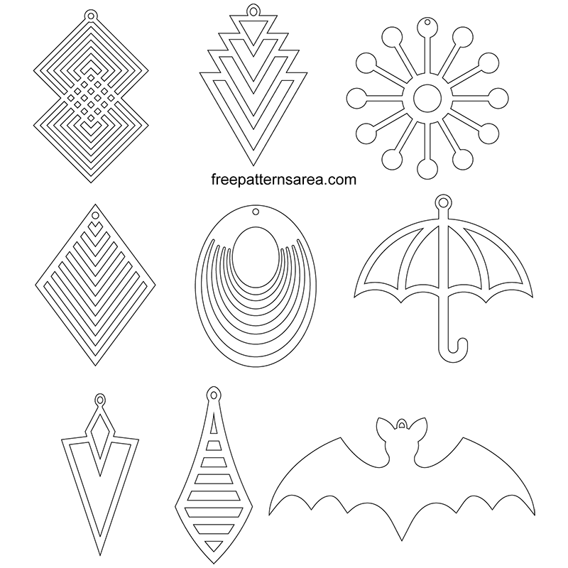Printable Leather Earring Jewelry Templates