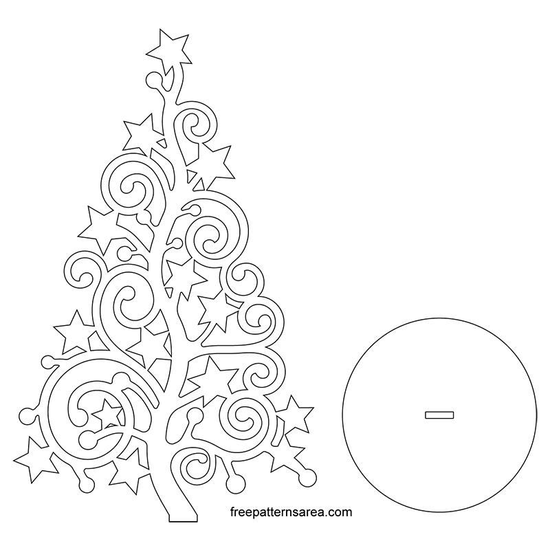 Laser Cut Christmas Tree Ornament Pattern