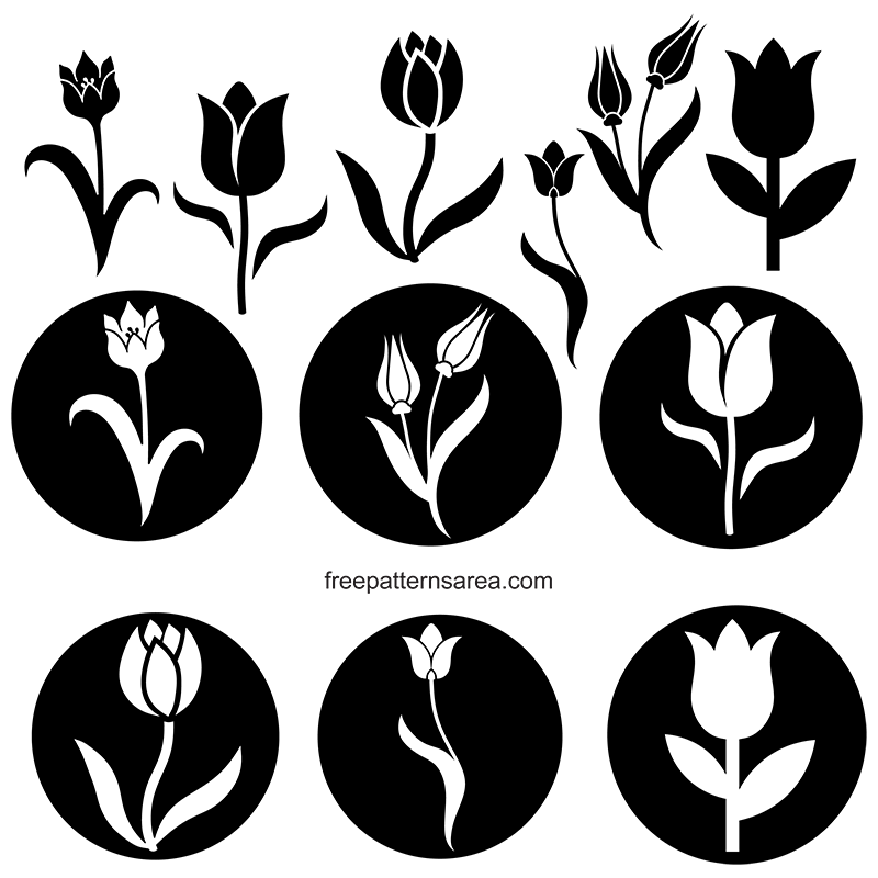 graphic about Tulip Pattern Printable called Tulip Stencil Vector Clipart FreePatternsArea