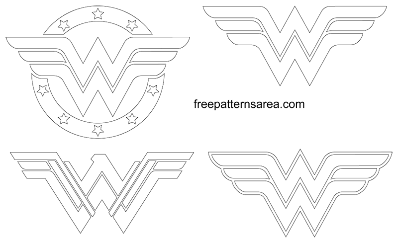 Wonder Woman Logo Symbol Outline Pdf Pattern