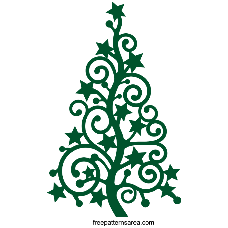 Stylized Christmas Xmas Tree Silhouette Vector Art Free