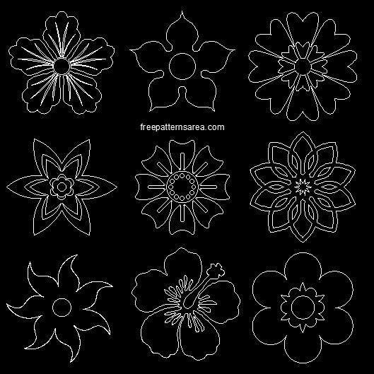 2d Autocad Flower Design Dxf Dwg Files
