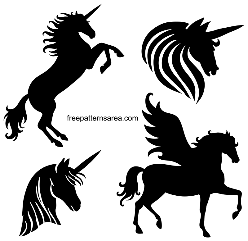 Free Unicorn Stencil Silhouette Vector Images