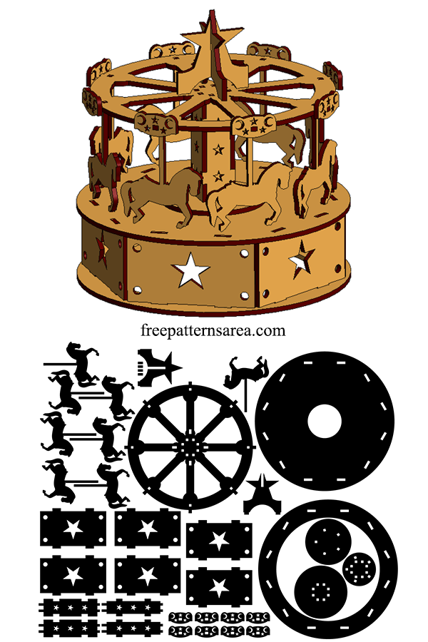 Laser Cut Carousel Dxf Plan Wooden Toy Template