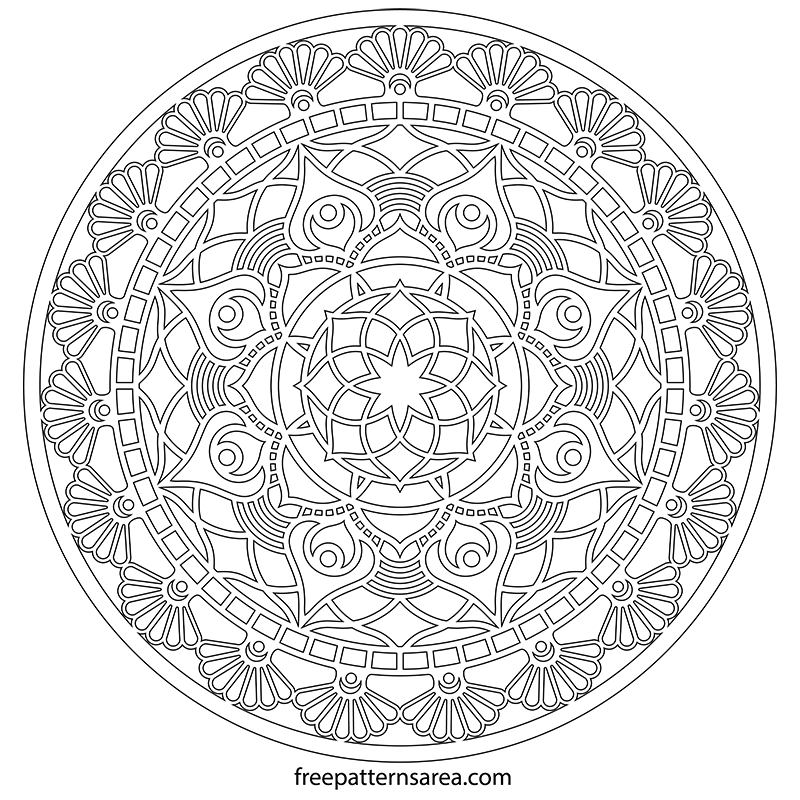 photograph about Printable Circle known as Printable Circle Mandala Silhouette Vector Structure