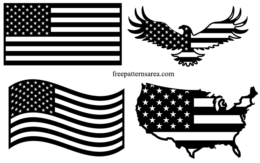 Black and White American Flag Silhouette