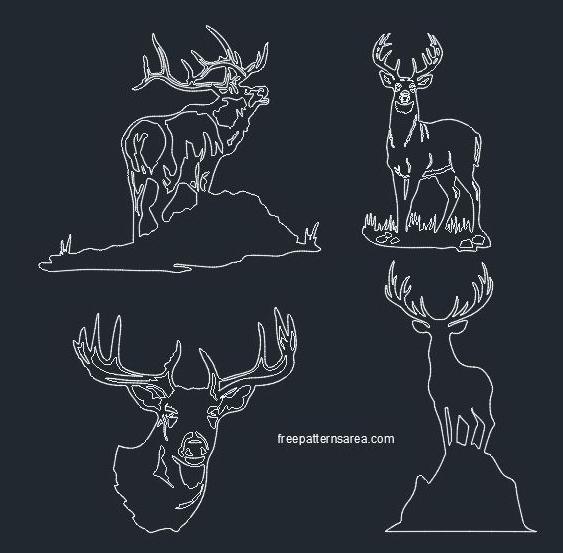 Deer Vector Free Download Dxf File