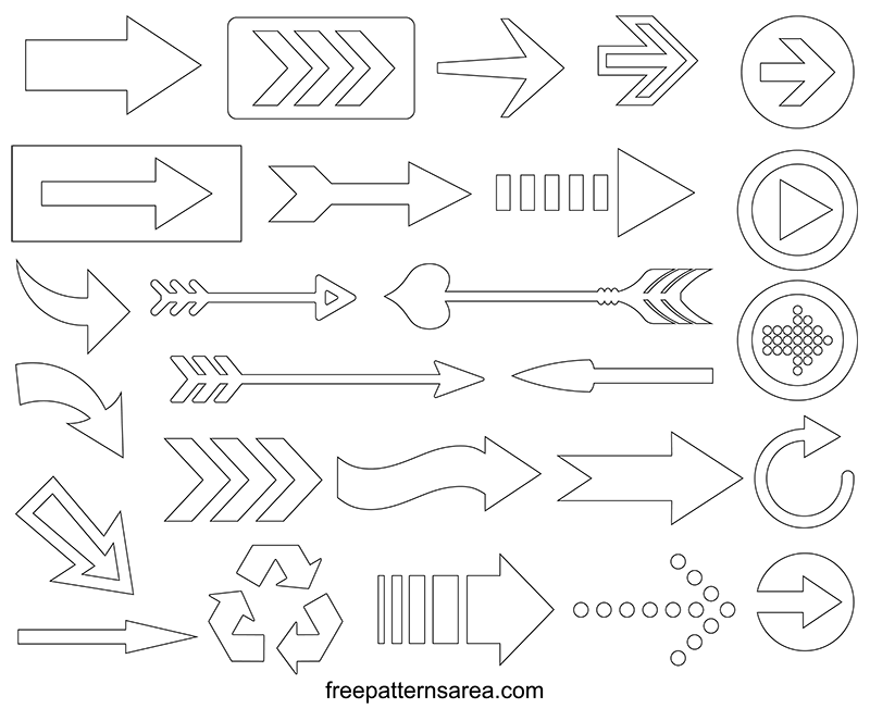 image about Printable Arrows titled Arrow Vector Pictures and Printable Templates FreePatternsArea
