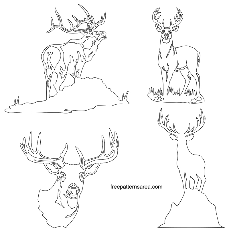 Printable Deer Outline Template Drawings