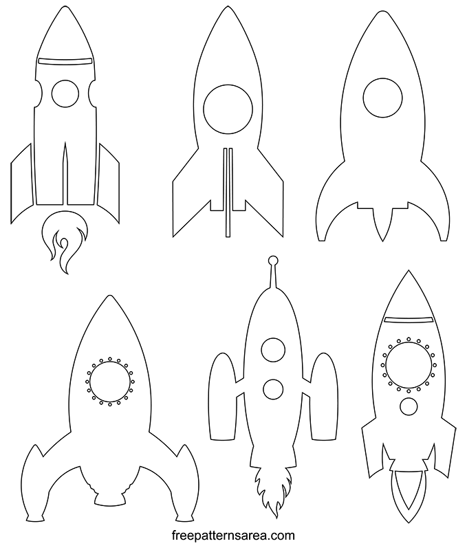 Rocket Ship Outline Cut Out Template