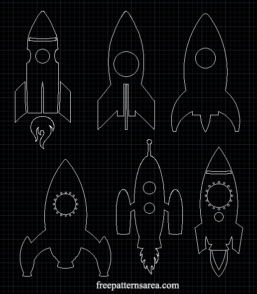 Rocket Spaceship 2d Dwg Autocad Cad File