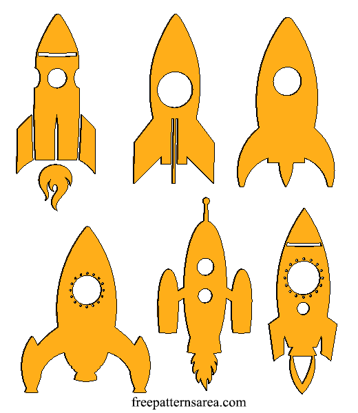 Wood Rocket Spaceship Craft Shapes