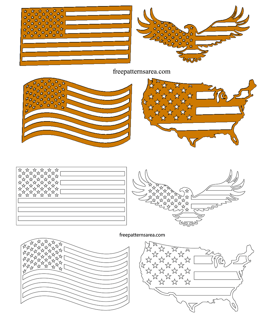 Wooden American Flag Ornaments Template