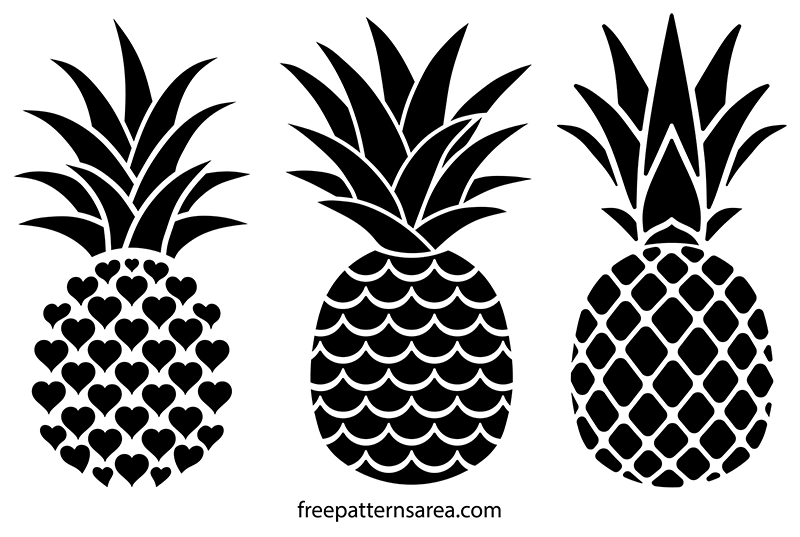 Pineapple Black and White Stencil Vector