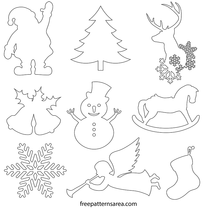 Bell Shaped Christmas Printable Silhouettes SVG File Free