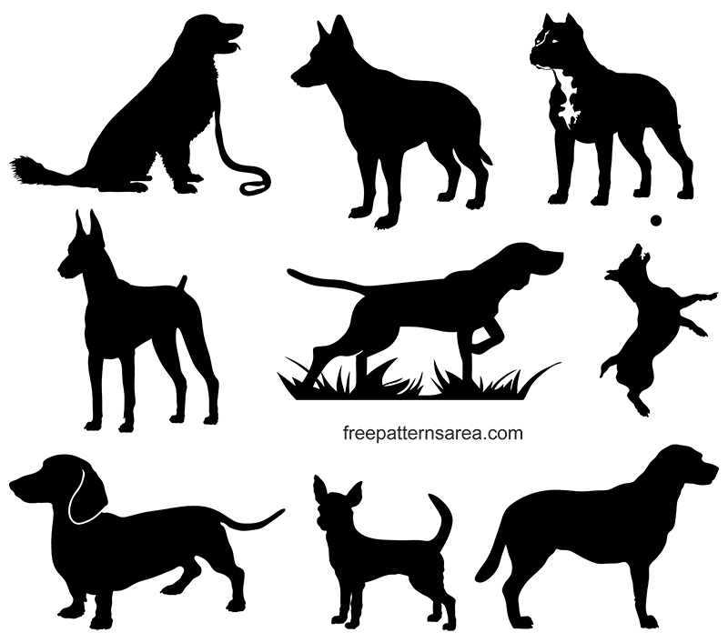 Dog Silhouette Clip Art Vectors
