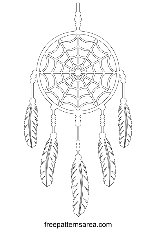Dreamcatcher Out Line Drawing Pattern