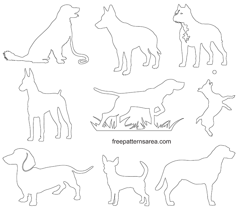 Dog Silhouette Clip Art Vectors Freepatternsarea