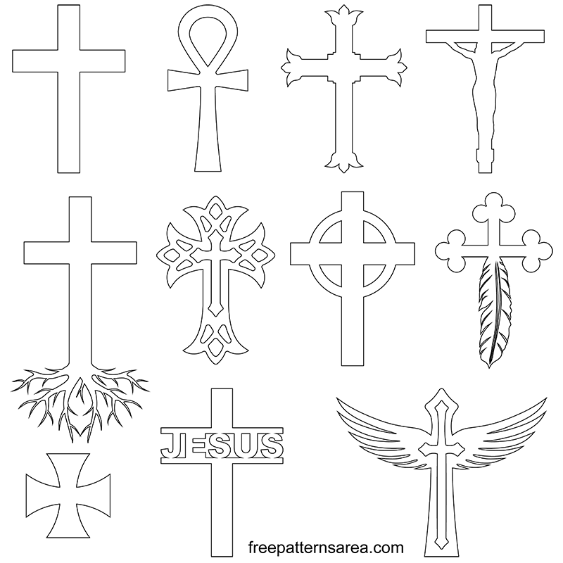 Printables Cross Outline Pdf Template Drawings
