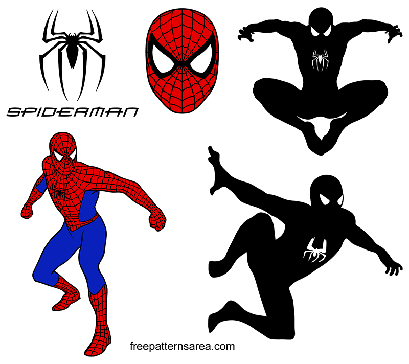 Spider Man Logo Symbol And Silhouette Vectors Freepatternsarea