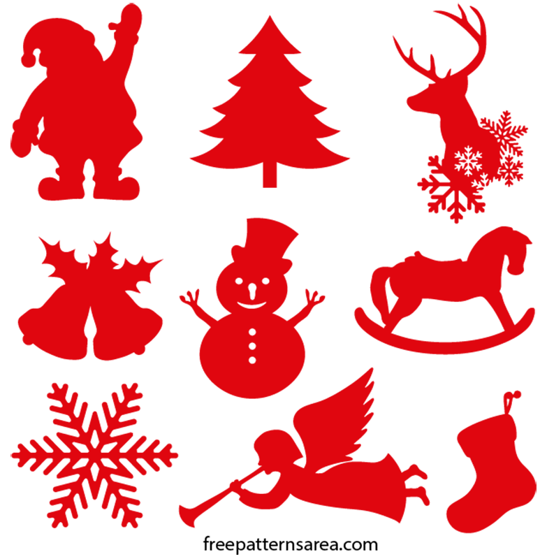 Christmas Ornament Silhouette Vector Shapes Freepatternsarea