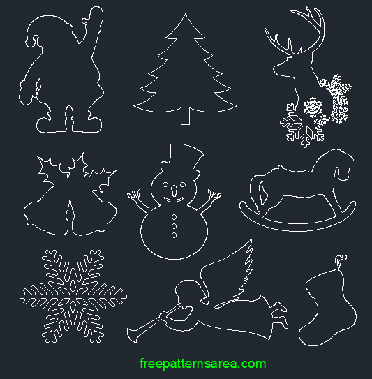 Christmas Bell Autocad dxf dwg Drawing