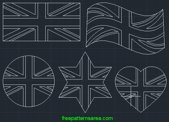 Autocad Union Jack Uk Flag Dwg File