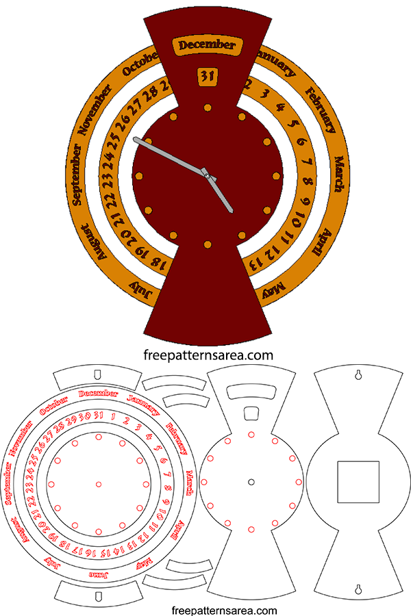 Downloadable Laser Cut Dxf Clock Plan