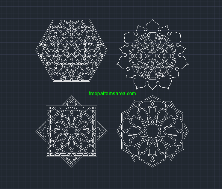 Geometric Islamic Autocad Dwg Dxf Pattern Files