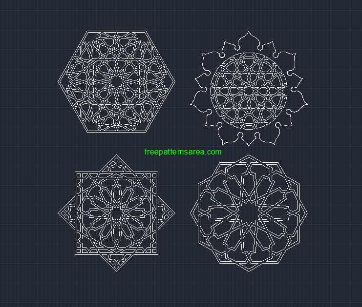 Geometric Islamic Autocad Dwg Dxf Pattern Files