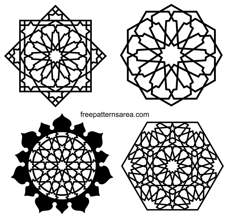 Islamic Geometric Art Black White Png Vector