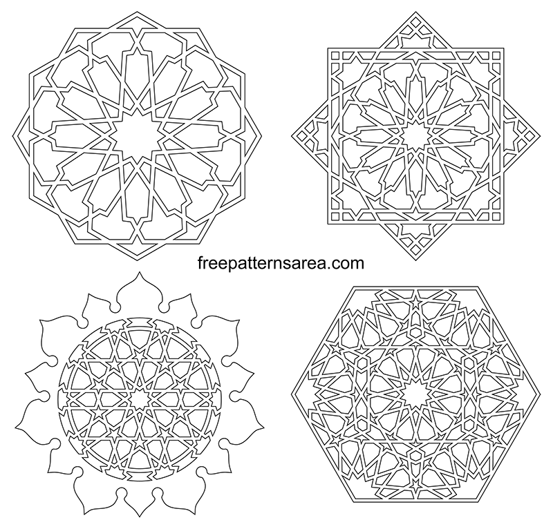 Islamic Line Art Drawings Transparent Outline