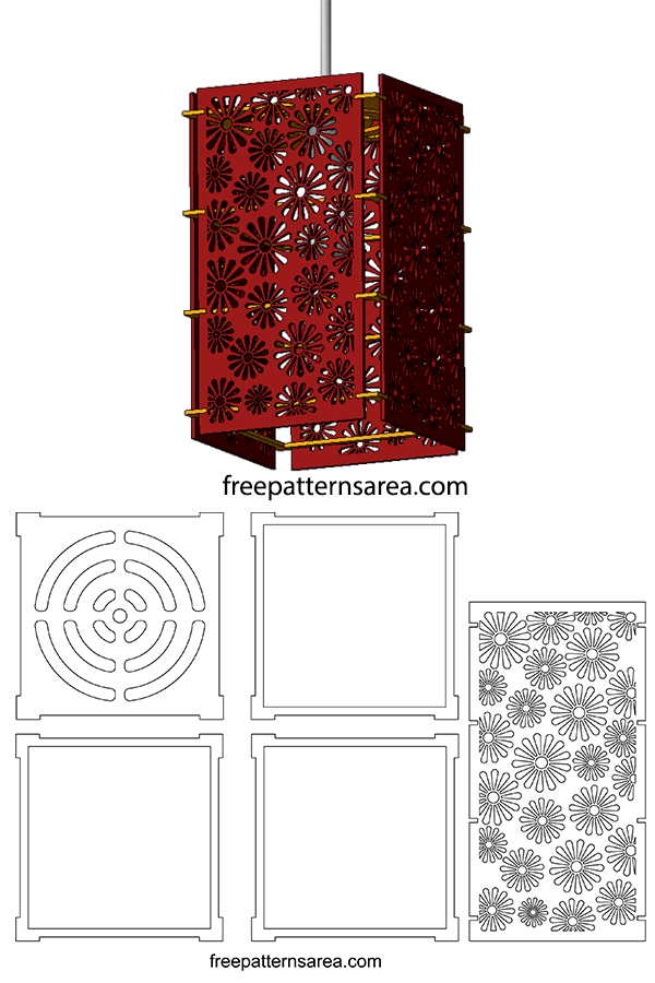 Laser Cutting Hanging Lamp Shade Drawing Download