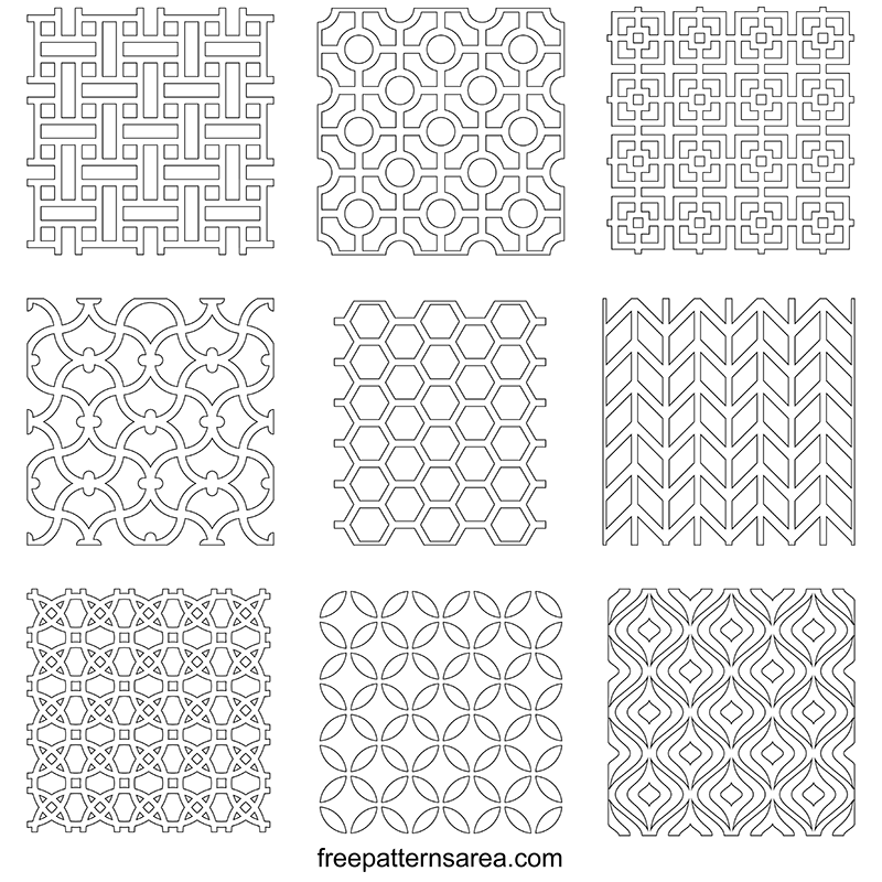 Printable Geometric Outline Pattern Template