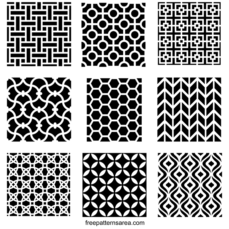 Repeating Geometric Stencil Pattern Motif Designs