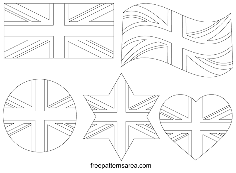 Union Jack Drawing Outline Template