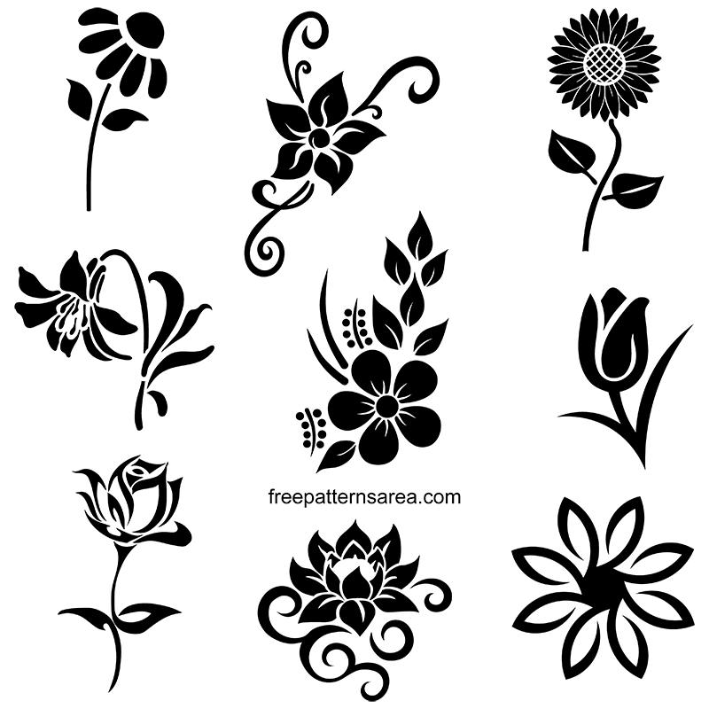Free Flower Stencil Art Designs Floral Vectors