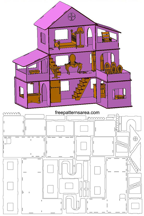 Doll House Template for Laser Cut Woodworking