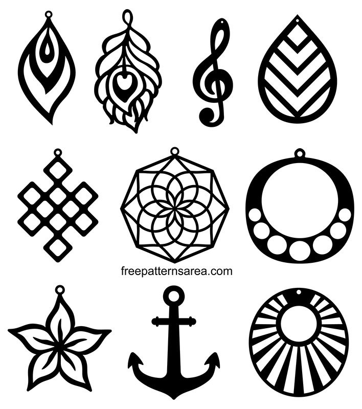 Earring Jewelry DXF, CDR Patterns For Laser Cutter