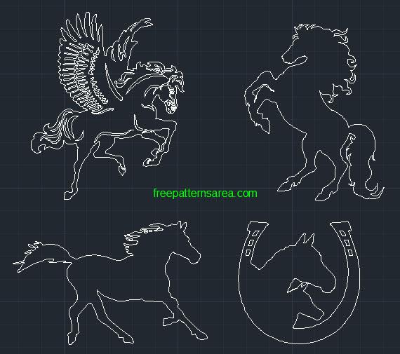 Horse DWG Art, 2d Autocad CAD Drawing Files