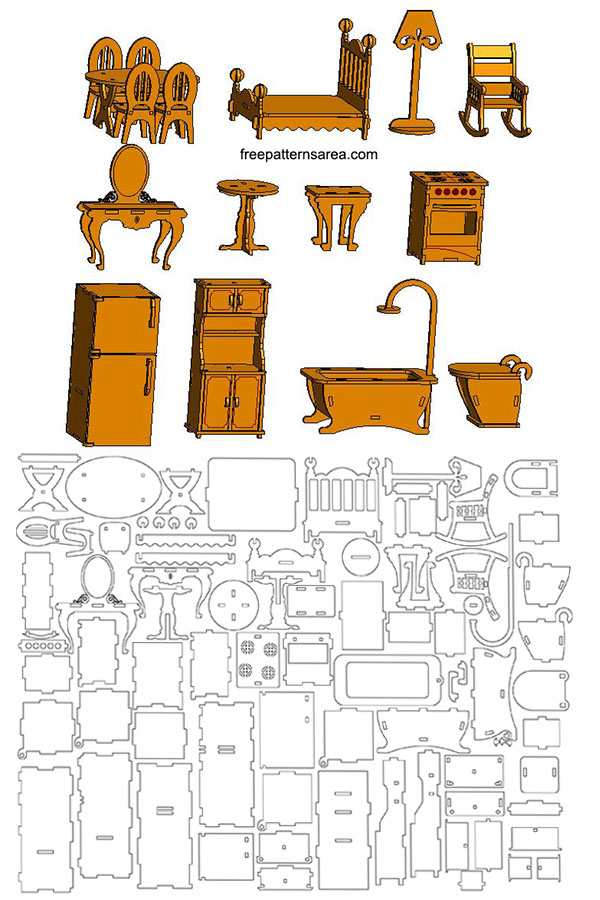 Laser Cut Toy Furniture Plans for Doll House