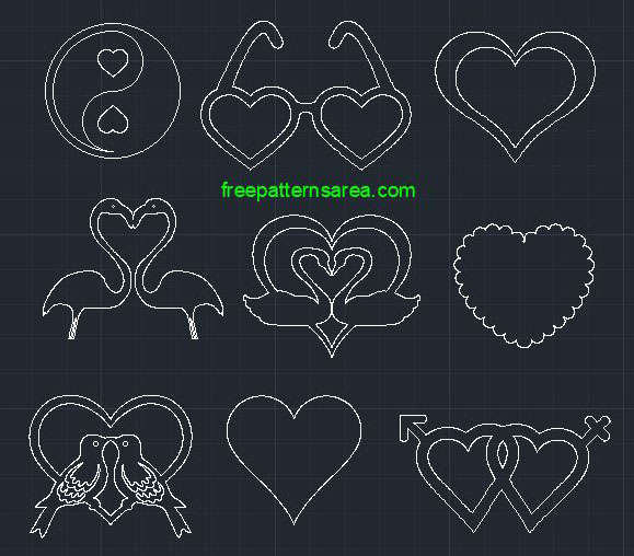 Love Heart Autocad Dwg 2d Cad File