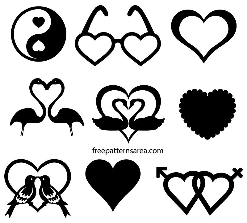 Love, Heart Silhouette Clipart Vector Cdr Files
