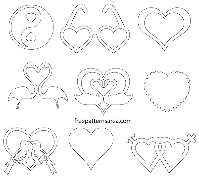 Printable Love Heart Outline Pdf Template