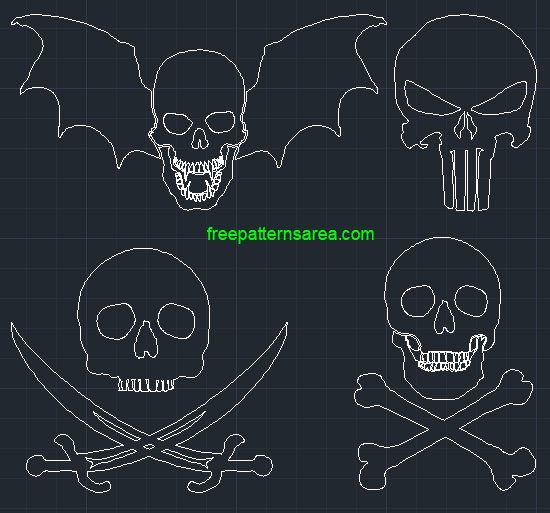 Skull Dwg Cad Block Files Download Autocad