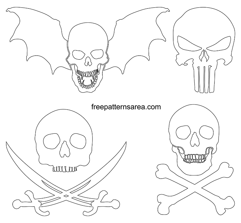 Skull Outline Pdf Template Drawing